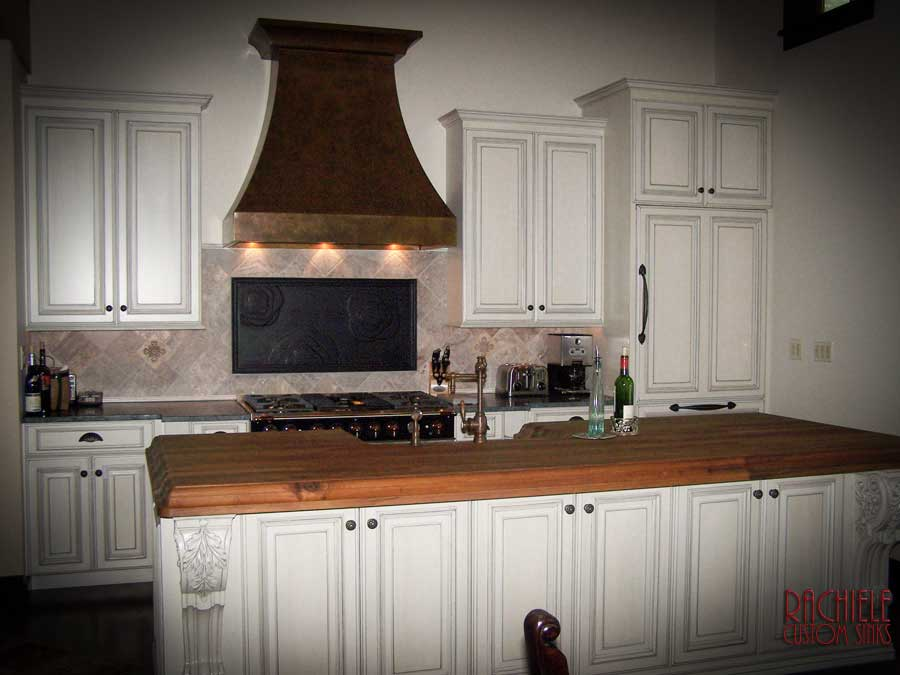 custom copper hood in white kitchen