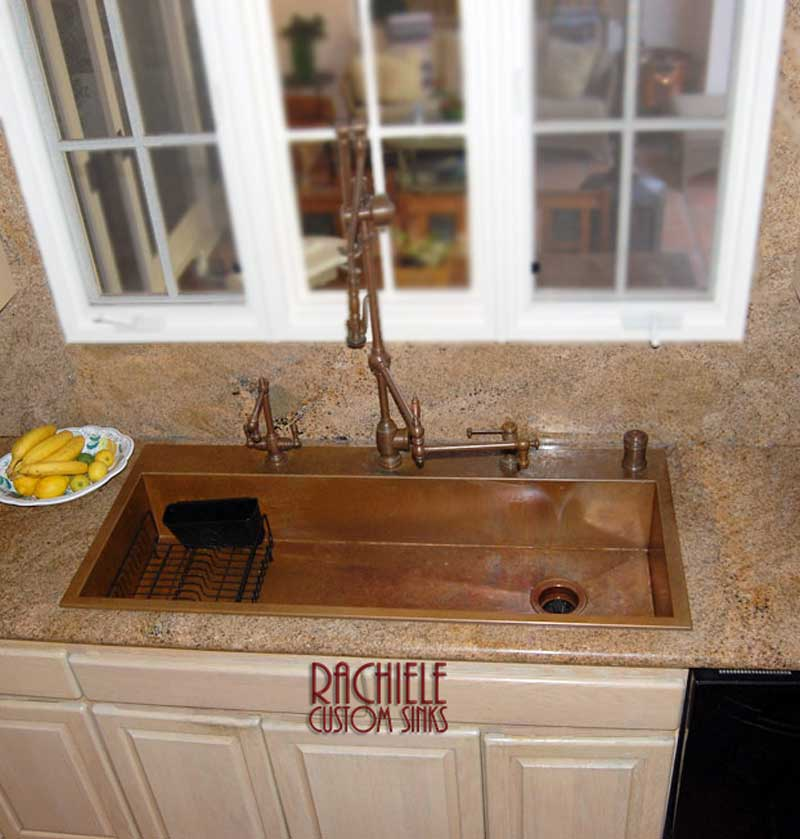 triple bowl Kohler sink replaced with top mount single bowl copper sink