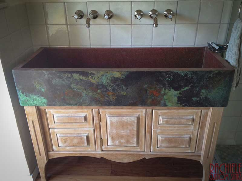 custom copper farmhouse sink sent to Israel