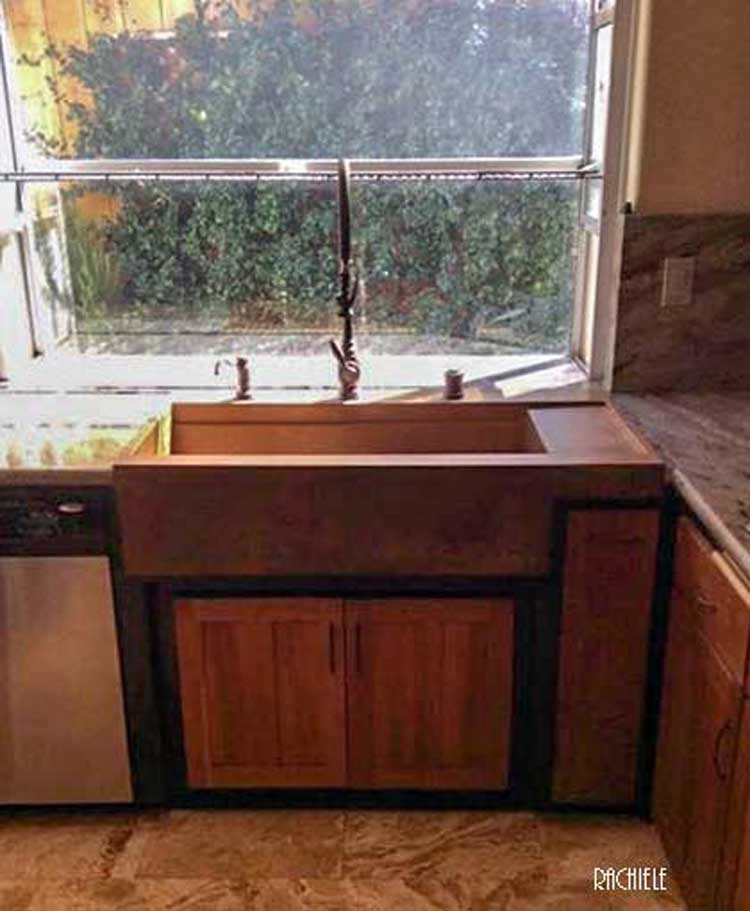 custom designed farmhouse workstation sink saves countertop problem