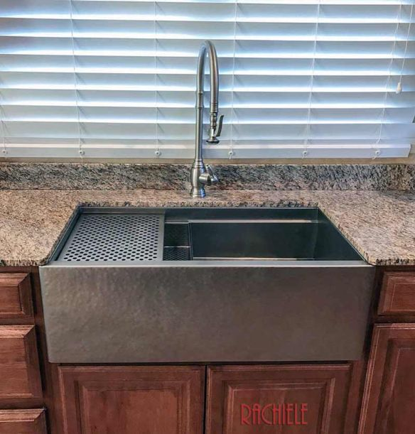 Custom stainless steel farmhouse sink hand hammered stainless steel