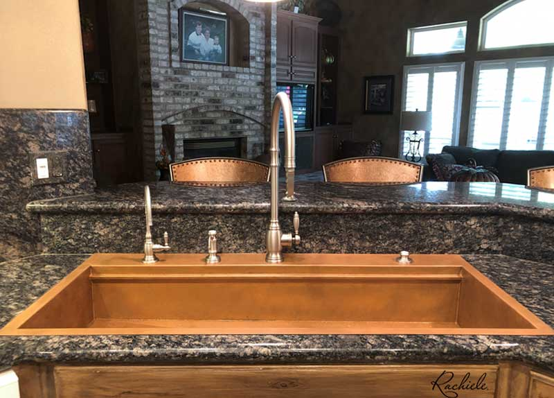 replacement of double bowl sink with single bowl copper workstation sink