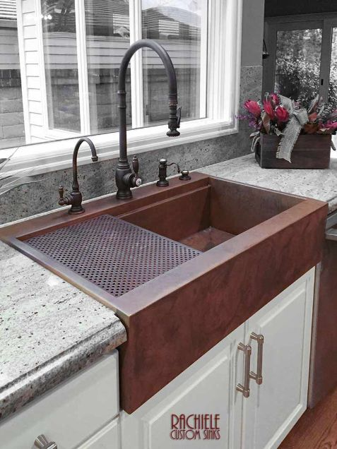 Drop in retrofit copper farmhouse sink
