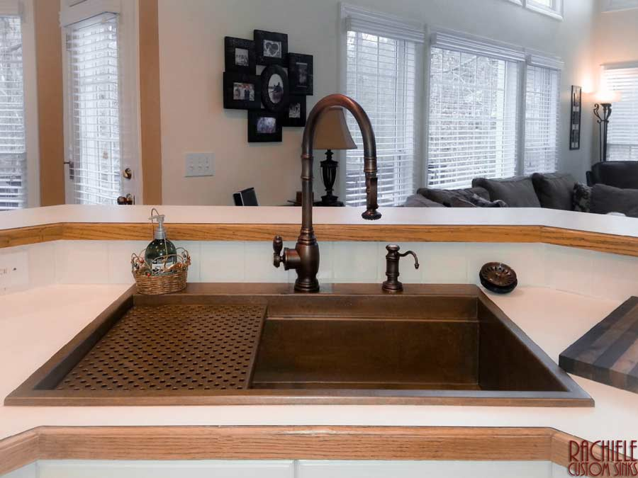 custom copper drop in workstation sink by rachiele and waterstone faucet