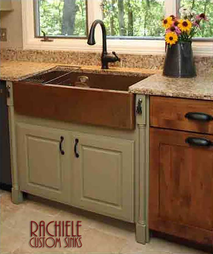 copper farmhouse sink in kitchen