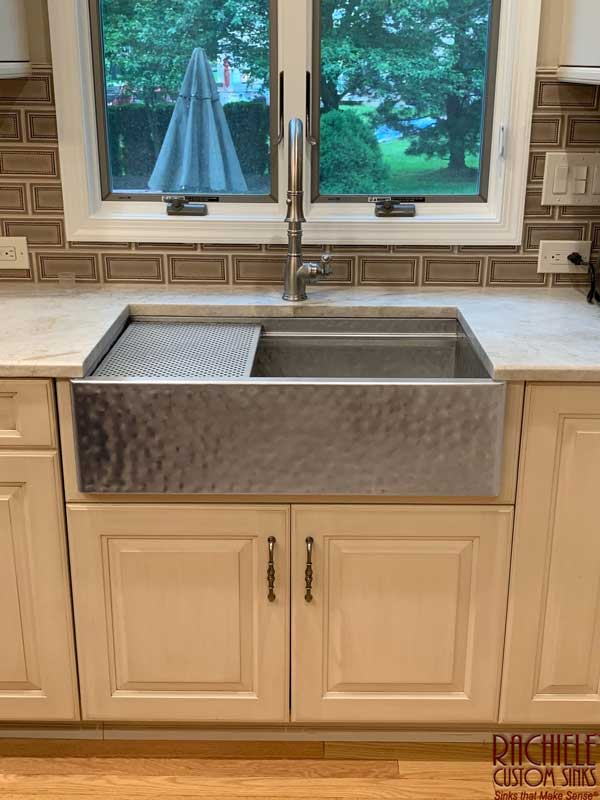 Hand Hammered Rustic Matte Stainless Farmhouse Workstation Sink