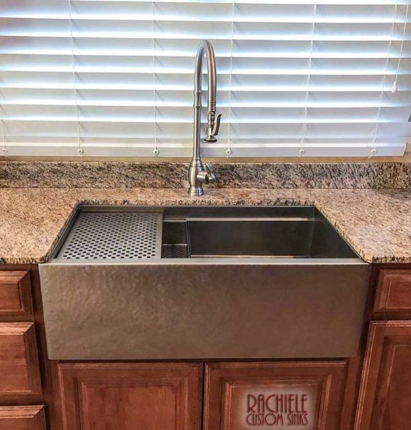 Hammered matte stainless kitchen farmhouse workstation sink with cutting board an grid drainer