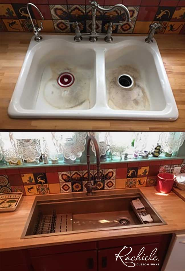 Brushed stainless farmhouse sink in contemporary kitchen