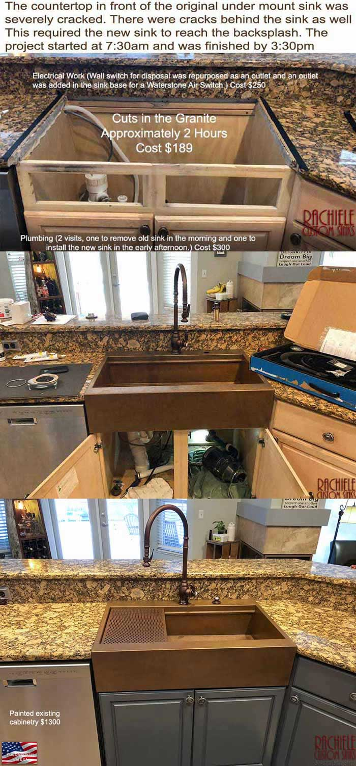 cracked granite fix with retrofit farmhouse sink