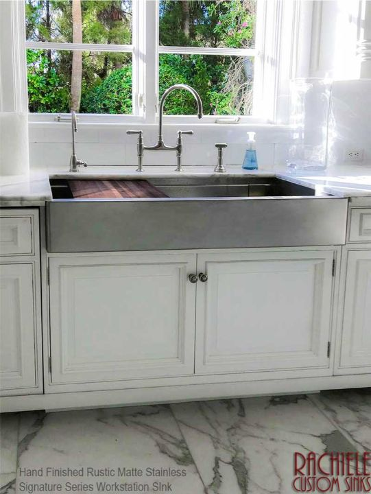 retrofit under mount rustic matte large workstation sink