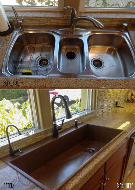 large copper top mount sink replaces triple bowl sink