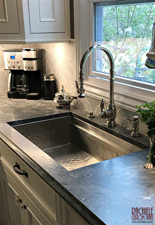 Hand Hammered Rustic Matte Stainless Signature Series Workstation Sink with 5500 Waterstone Faucet Suite.