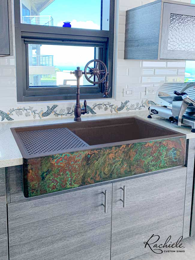 48 inch copper farm sink workstation by rachiele custom sinks