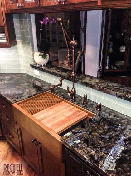 Rachiele copper workstation farmhouse sink with Waterstone gantry faucet suite