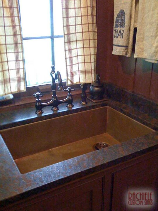 copper sink with rear corner drain