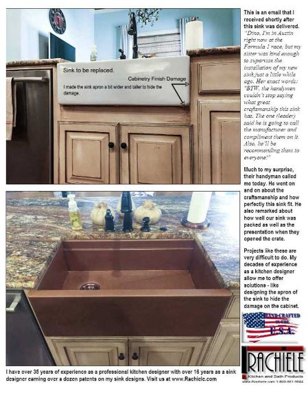 copper retrofit sink replaces fireclay sink
