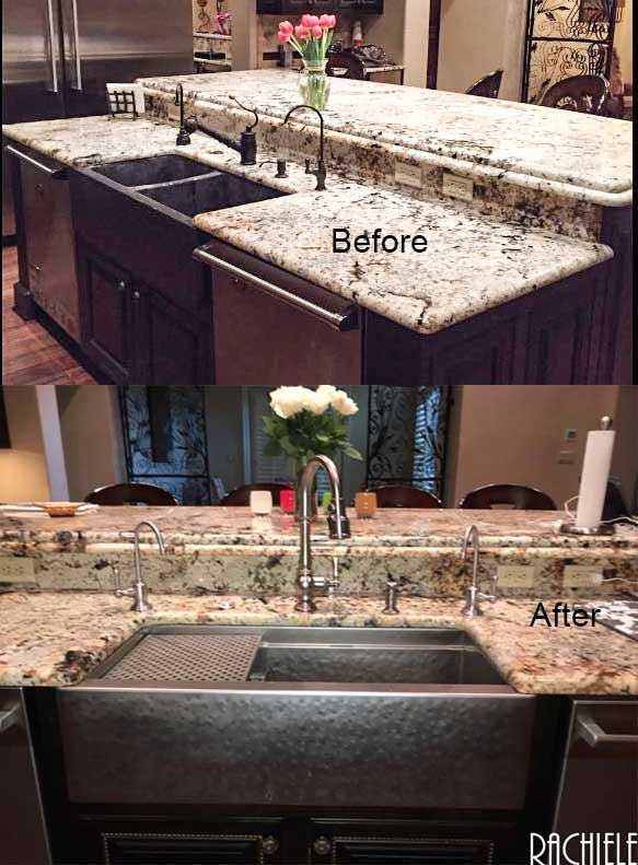 hammered stainless replacement farmhouse sink