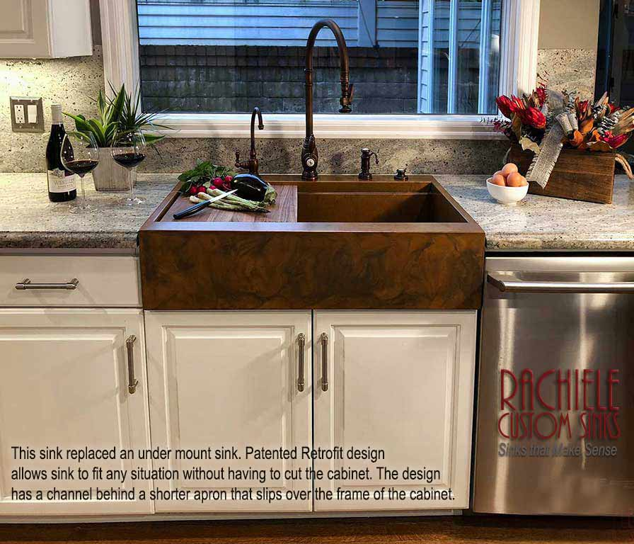 retrofit farmhouse sink with short apron in existing cabinets by rachiele