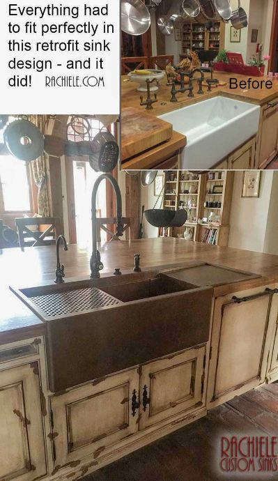 retrofit copper top mount farmhouse sink with drainboard