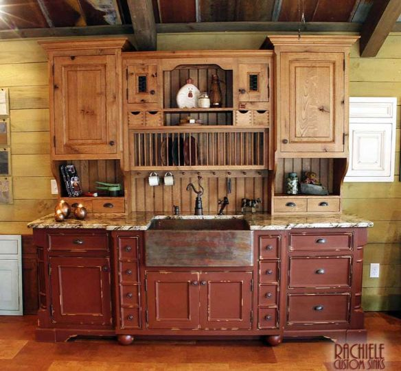 copper farmhouse sink in rustic kitchen