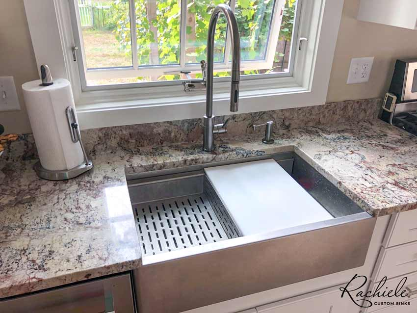 stainless farmhouse workstation sink and waterstone faucet
