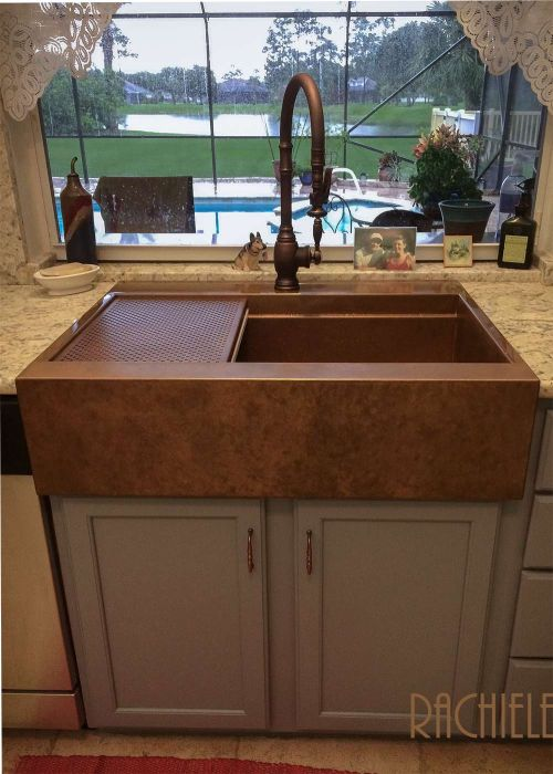 top mount retrofit farmhouse copper sink