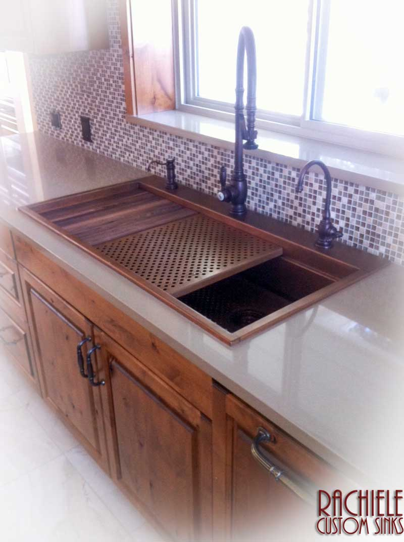 Copper top mount retrofit workstation sink with cutting board and copper drain grid
