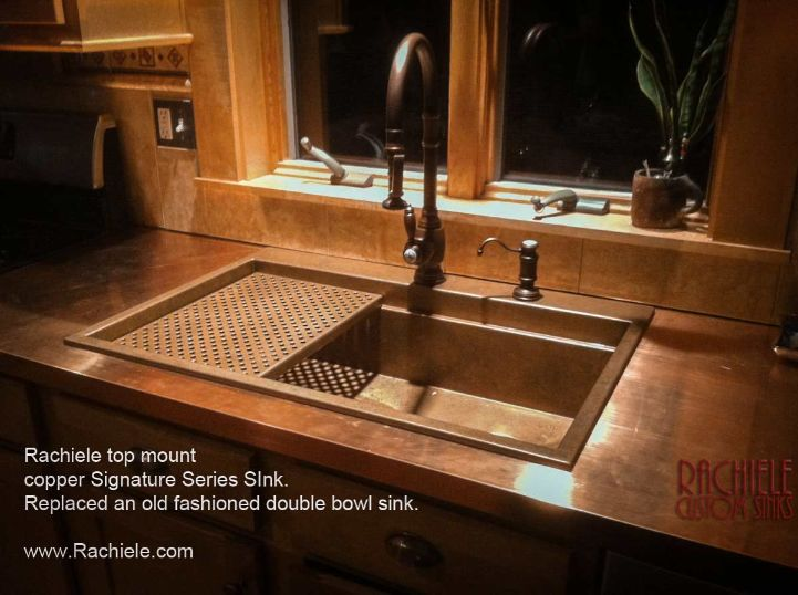 copper top mount replacement workstation sink