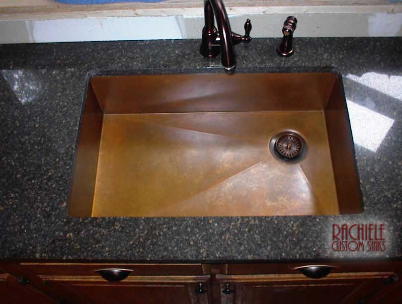 copper sink rear corner drain