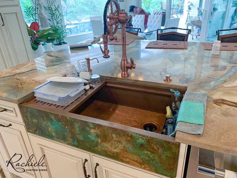 workstation farm sink with Waterstone wheel faucet