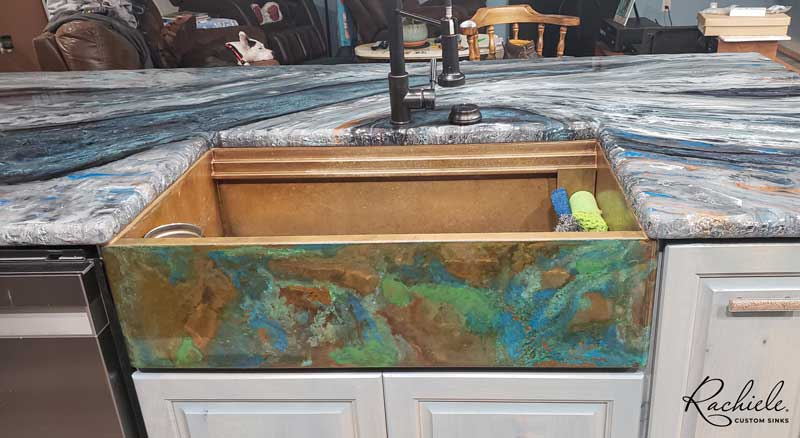Dual tier workstation copper farm sink