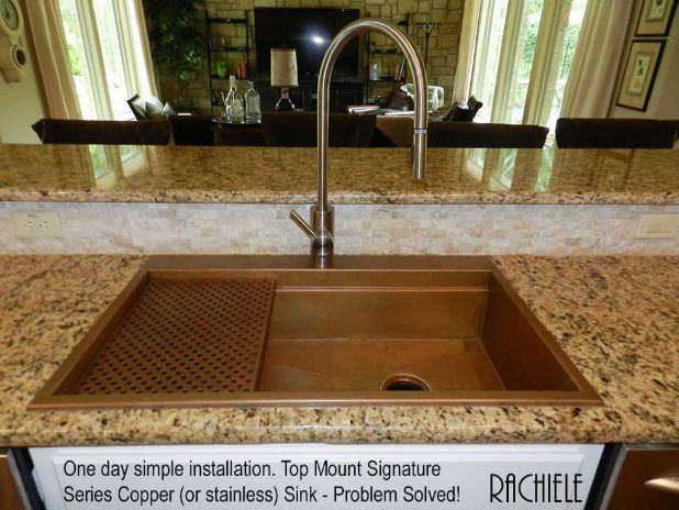 Copper top mount sink with stainless contemporary faucet