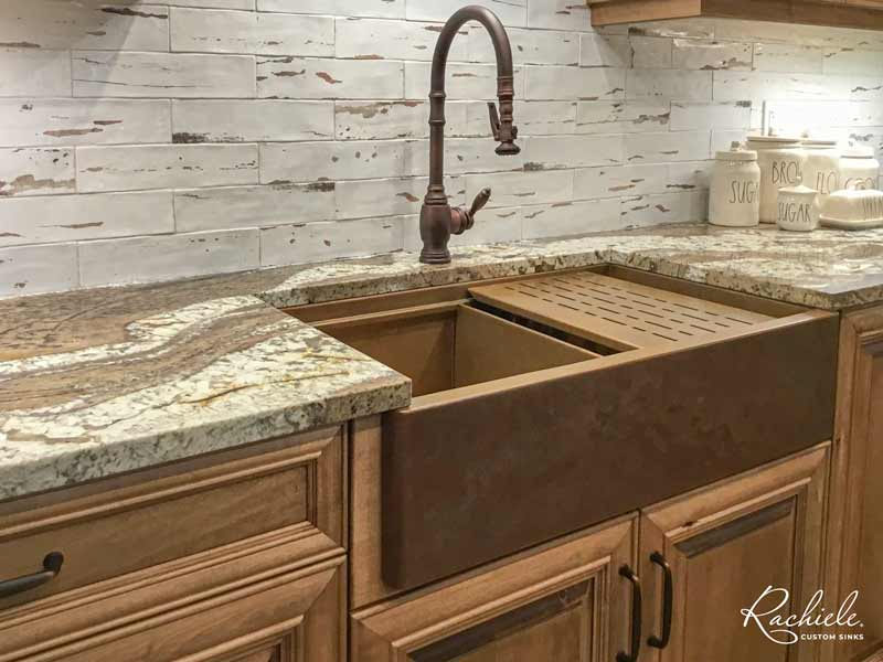 workstation copper farm sink and waterstone faucet