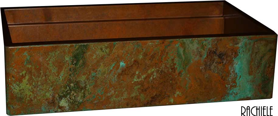 rustic patina on copper farmhouse sink with green and brown patina