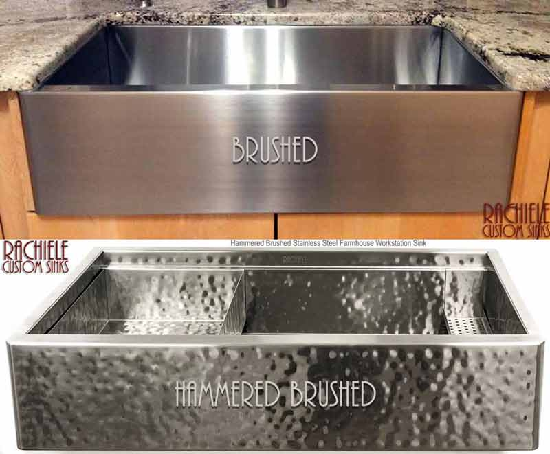 brushed hammered  stainless steel farmhouse sink