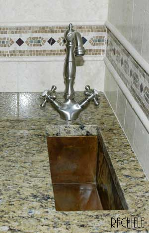 Hammered Copper trough sink