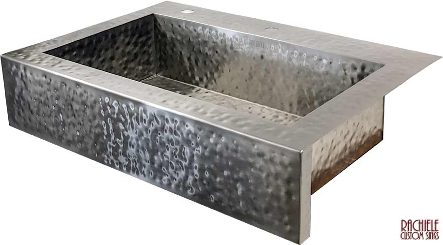 Double bowl hammered stainless farmhouse sink