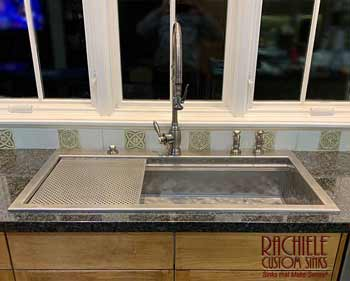 custom hand-hammered stainless steel drop in workstation kitchen sink
