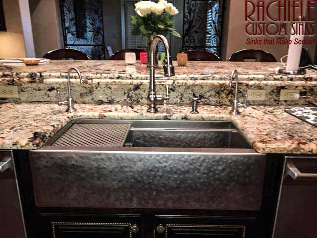 hammered stainless steel farmhouse sink