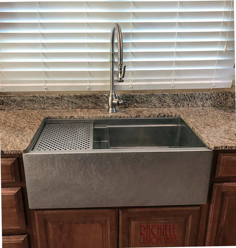 hammered farm sink