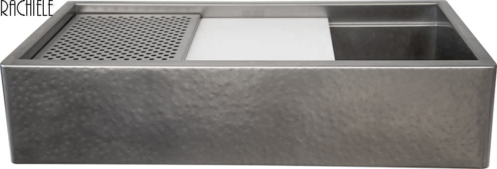 Rustic Hammered Stainless Steel Farm Sink With Cutting Board