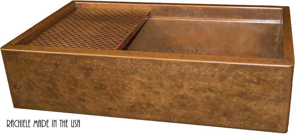 hammered copper farmhouse apron front sink