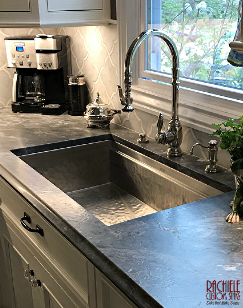 hand hammered stainless kitchen sink made in the USA by Rachiele