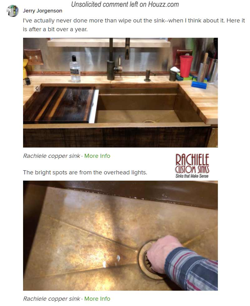 comment on Houzz.com regarding the care of a copper sink