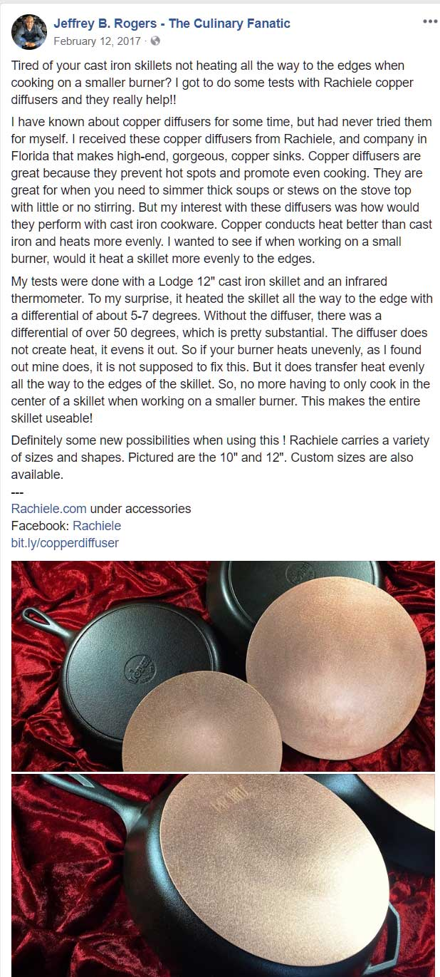 copper cooking diffuser testimonial