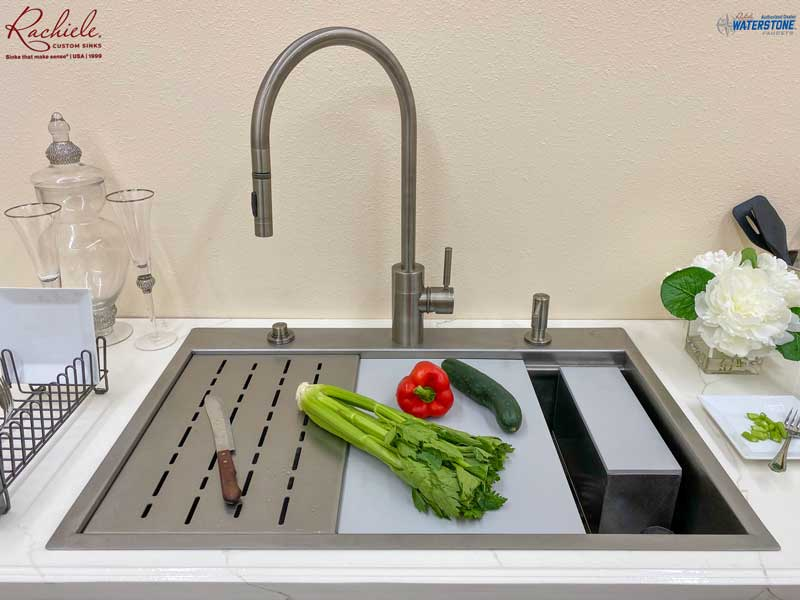 custom drop-in stainless custom sink with flat flanges and rear deck for faucet