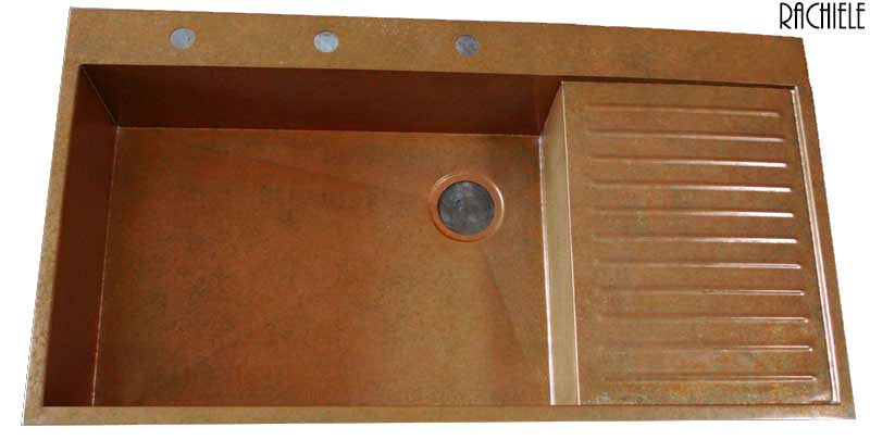 copper kitchen sink with drain board