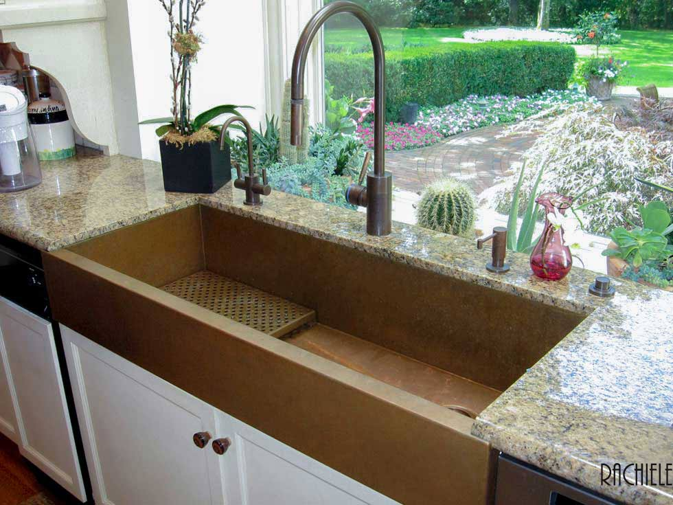 large copper farmhouse sink