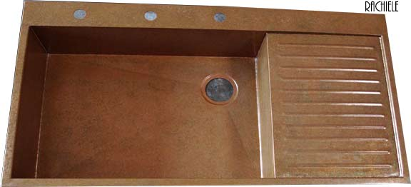 custom copper sink with integral drain board
