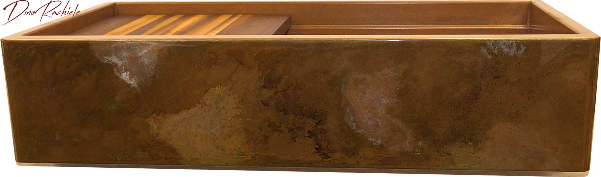 copper patina on copper sink